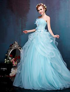 Prinsessa Brudklänning Brudklänning i färg Golvlång Axelbandslös Kräpptyg Spets Tyll Stretchig satäng MedMönster Pärla