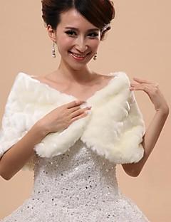Wedding  Wraps / Fur Wraps / Hoods & Ponchos Capelets Sleeveless Faux Fur White Wedding / Party/Evening Off-the-shoulder PatternHidden