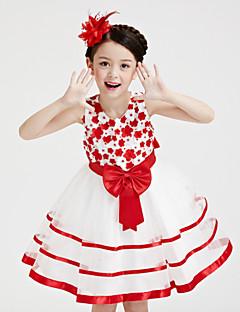 A-line Short/Mini Flower Girl Dress-Organza / Satin / Polyester Sleeveless