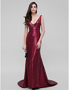 TS Couture Prom Formal Evening Dress - Sparkle & Shine Trumpet / Mermaid V-neck Court Train Sequined with Sequins