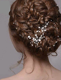 Women's Silver Pearl Rhinestone Hairpins Hair Jewelry for Wedding Party