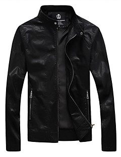 Men's Casual Stand Up Collar Washed Leather Motorcycle Jacket,Lined