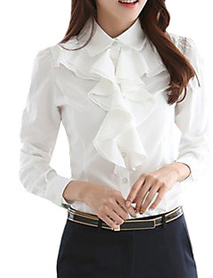 Women's Solid Black White Slim Fit Shirt, Work Ruffle Collar Long Sleeve