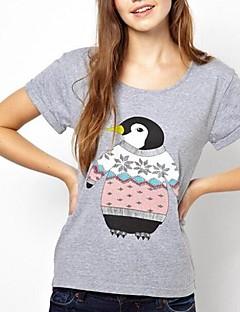 Vrouwen Eenvoudig Zomer T-shirt,Casual/Dagelijks Print Ronde hals Korte mouw Wit / Grijs Katoen Dun