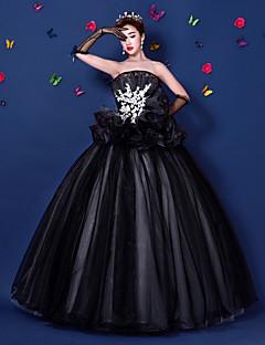 Vestido-preto Festa Formal De Baile Tomara que Caia Longo Organza / Cetim