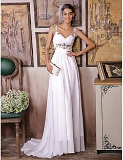 Tubinho Vestido de Noiva Cauda Escova / Longo Alças com