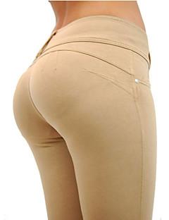 Legging Couleur Pleine Moyen Coton / Spandex Femme