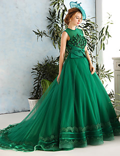 Formal Evening Dress Ball Gown Jewel Chapel Train Lace / Satin / Tulle withAppliques / Beading / Bow(s) / Flower(s) / Lace / Pearl