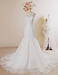 Trumpet/Mermaid Wedding Dress-Ivory Chapel Train V-neck Lace / Organza