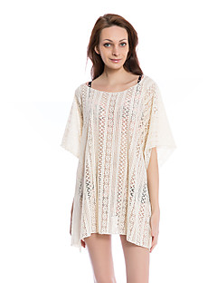 Aaronano Women's Sexy Crochet Hollow Out Swimwear Cover-up,Beige