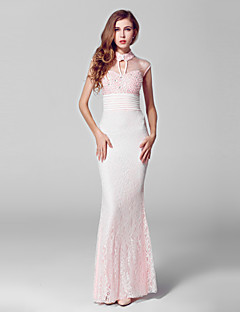 Formal Evening Dress Trumpet / Mermaid High Neck Floor-length Lace / Tulle with Beading / Lace