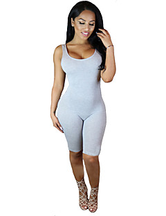 Women's Solid Pink / Gray Jumpsuits,Sexy / Active Round Neck Sleeveless
