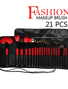 21 pcs Red&Black High-end Goat Weasel Hair Makeup Brush Set with Leather Case