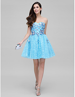 Vestido - Azul Festa de Coquetel De Baile Coração Curto/Mini Renda