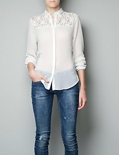 Langærmet Kvinders Blonder Krave Skjorte Polyester