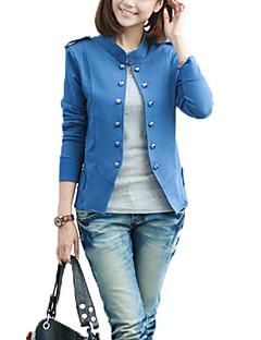 Damen Solide Retro / Street Schick Lässig/Alltäglich Jacke,Ständer Frühling Langarm Blau / Schwarz / Grün Acryl / Polyester Dünn