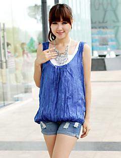 Women's Solid Blue Blouse,Deep U Sleeveless