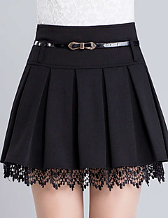 Women's Solid Black Skirts,Casual  Day  Simple Above Knee