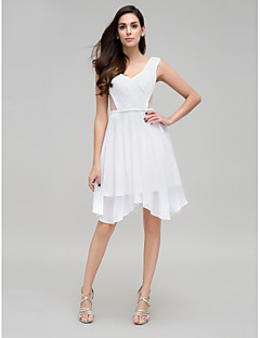 TS Couture® Cocktail Party Dress - Ivory A-line V-neck Asymmetrical Chiffon