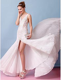 lanting 신부 트럼펫 / 인어 웨딩 드레스 코트 기차 BATEAU 레이스 / 얇은 명주 그물