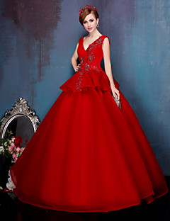 Princess Wedding Dress-Ruby Floor-length V-neck Stretch Satin