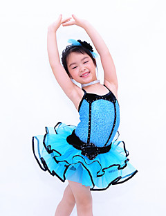 Kids' Dancewear Dresses Children's Performance Polyester / Organza / Lycra Crystals/Rhinestones / Tiers Sleeveless Natural
