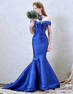 Formal Evening Dress-Royal Blue / Dark Navy Trumpet/Mermaid Off-the-shoulder Court Train Satin