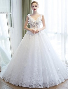 Ball Gown Wedding Dress Chapel Train V-neck Lace / Tulle with Flower / Lace