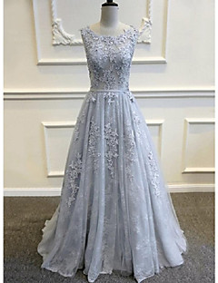 A-line Wedding Dress-Sky Blue Sweep/Brush Train Scoop Lace / Tulle