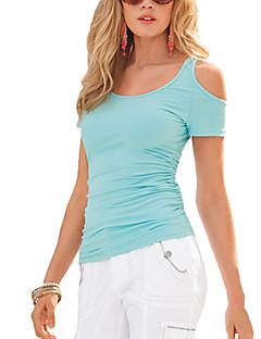 Kortærmet Rund hals Tynd Kvinders Blå / Rosa / Hvid / Sort Ensfarvet Sexet / Street I-byen-tøj T-shirt,Bomuld