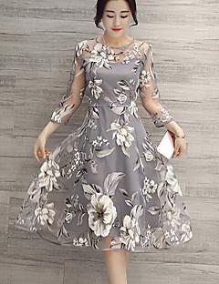 Mulheres Vestido Evasê Moda de Rua Floral Altura dos Joelhos Decote Redondo Poliéster