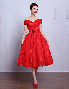 Cocktail Party Dress-Ruby / Burgundy A-line V-neck Tea-length Lace