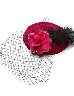 Women's / Flower Girl's Feather / Velvet / Net Headpiece-Wedding / Special Occasion Birdcage Veils 1 Piece