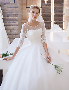 공 가운 illusion neckline sweep / brush tulle 웨딩 드레스 appliques with lan ting bride®