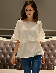 твердая белая блузка dabuwawa женщин, шею ½ длина рукава