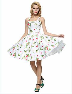Damer Vintage I-byen-tøj Plusstørrelser A-linje Skater Kjole Blomstret,Med stropper Knælang Uden ærmer Bomuld Alle årstider Højtaljede