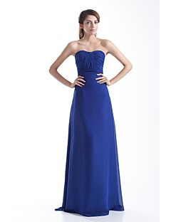 포멀 이브닝 드레스-로얄 블루 시스/칼럼 바닥 길이 끈없는 스타일 쉬폰