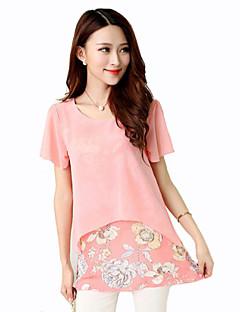 Mulheres Blusa Casual Plus Sizes / Moda de Rua Verão,Floral Azul / Rosa Poliéster Decote Redondo Manga Curta Média