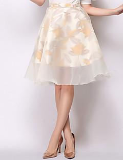 Women's Floral High Waist Black / Gold Elegent Skirts,Mesh Casual / Day / Street chic Above Knee