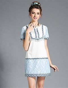 Robe Aux femmes Grandes Tailles / Courte Vintage,Mosaïque Col Arrondi Au dessus du genou Polyester / Spandex