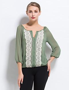 Vrouwen Eenvoudig Zomer Blouse,Casual/Dagelijks Kleurenblok V-hals Driekwart mouw Groen Polyester Dun