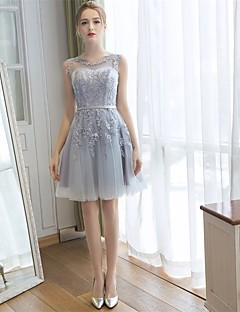 Bridesmaid Dress Knee-length Lace / Tulle - A-line Scoop with Appliques