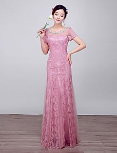 Serata formale Vestito Da ballo Stondata Lungo Di pizzo / Raso / Tulle con Dettagli con perline