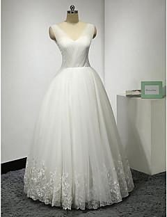 A-line Wedding Dress-Ivory Floor-length V-neck Lace / Tulle