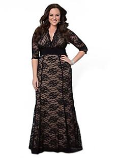 שמלה - מקסי - תחרה / תערובות כותנה - צינור (צמוד לגוף) / תחרה - עם בטנה