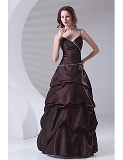 Formal Evening Dress A-line Spaghetti Straps Floor-length Taffeta with Beading / Pick Up Skirt / Side Draping