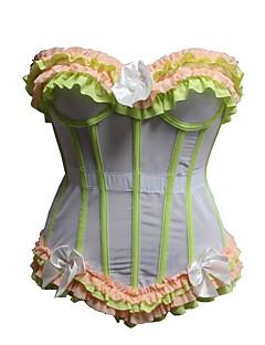 Feminino Sem Busto / Com Busto / Vestido com Corset / Conjunto com Corset / Tamanhos Grandes Roupa de Noite,Rendas / Estampado / Retro /