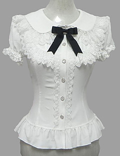 Blouse/Shirt Sweet Lolita Candy Princess Cosplay Lolita Dress White Lace Short Sleeve Lolita Blouse For Women Chiffon