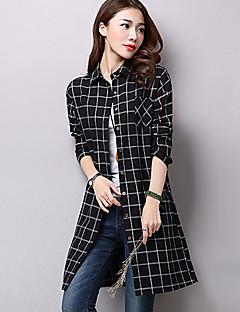 Women's Check Black / Gray Shirt,Shirt Collar Long Sleeve