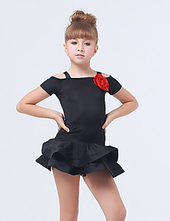 Kids' Dancewear Dresses Children's Performance Spandex / Polyester Ruffles / Tiers 1 Piece Black / Fuchsia / Orange Latin Dance Backless